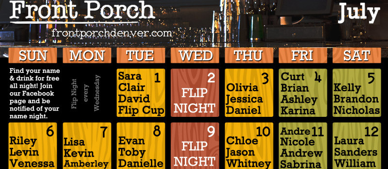 July Calendar Is Here! It's Time To Drink Free At Front Porch