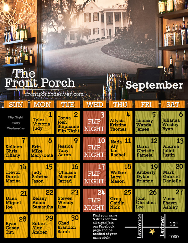 September Comes With Lots of Free Drinks at The Front Porch