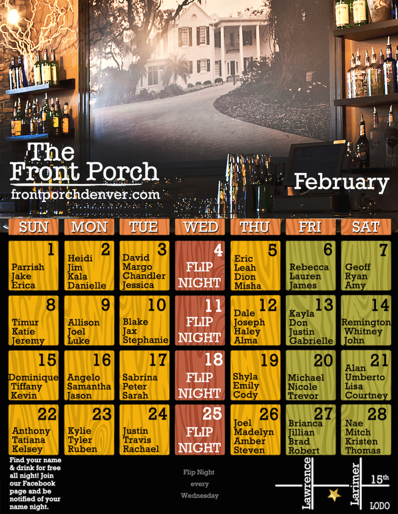 Here Is Our Monthly Calendar for February With Lots of Free Drinks